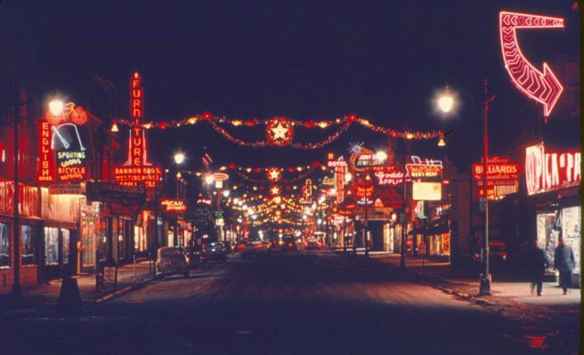 Durham Street at Christmas, courtesy of a posting on the Sudbury's Fine 'Past & Future' Let's Reminisce Facebook page