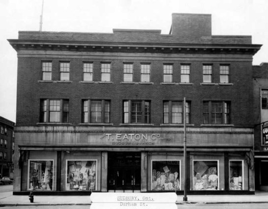 The Eaton's Building, circa 1930's. Courtesy of the City of Greater Sudbury Heritage Museums Collection