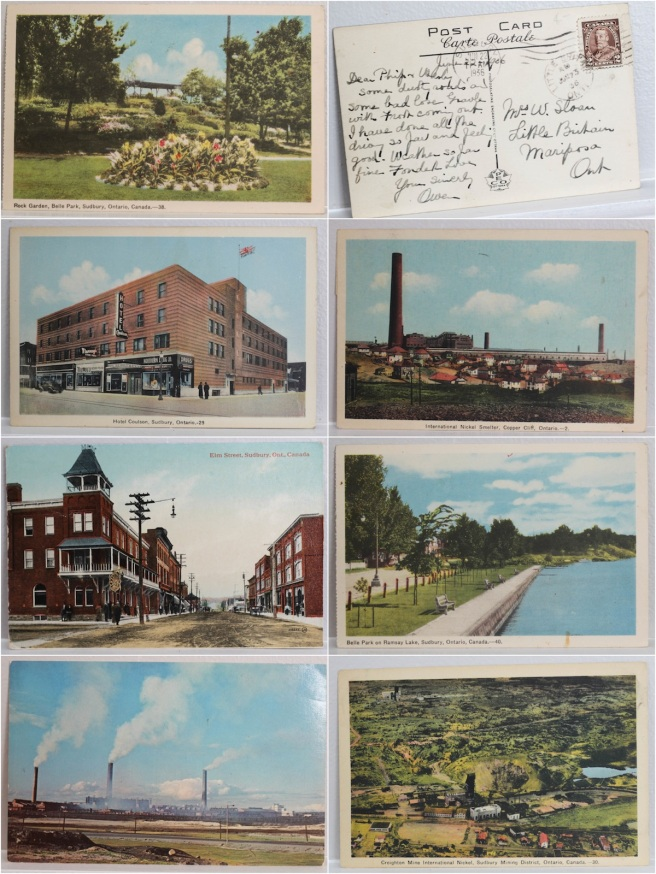My postcards (featuring a date stamp from 1936!). Click to see a bigger version.