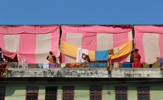 One of my favourite photos from the day. Pilgrims hang clothing to dry from a balcony in Janakpur.