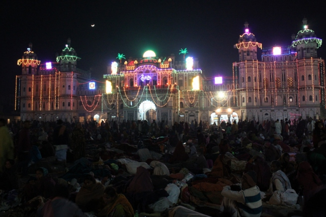 Thousands of pilgrims sleep outside Janaki Mandir temple in Janakpur during the annual Sita Panchami Babi festival.
