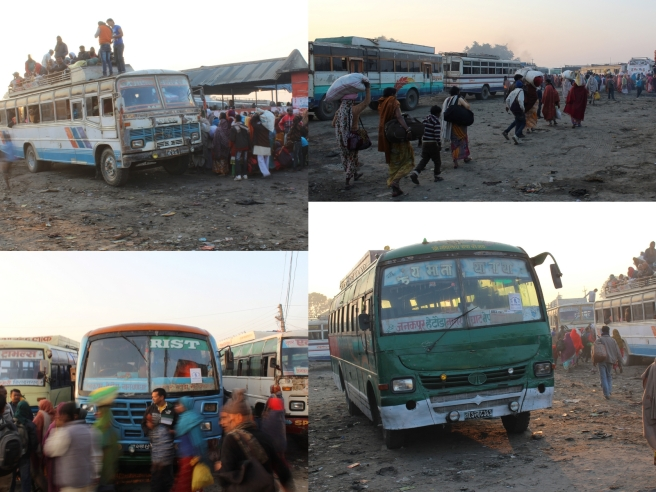 Bus stations in Nepal (this one in Janakpur) - chaos, only slightly organized. These were like the bus Marlon and I took from KTM to Janakpur.