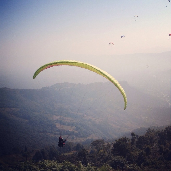One of my fellow paragliders, just before I took off