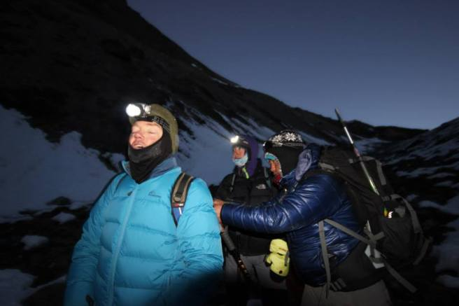 A photo taking by one of my EBC trekking companions, Donny. This is Chris, Gopal (our guide) and I at 4:30 a.m., starting the long walk up to the Cho La Pass.