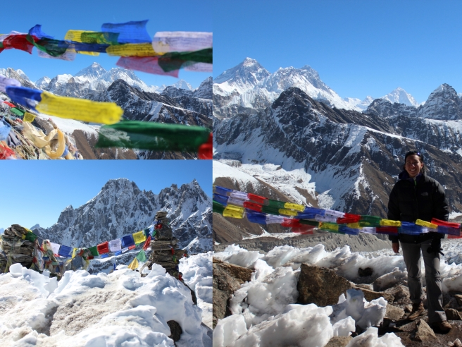 Significant summits and points along the trek were always decorated with strings of prayer flags. Here, the view from the top of Gokyo-Ri.