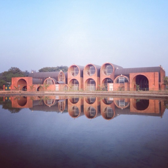 This is the Lumbini Museum, that sits at one far end of the central canal. Architecturally, it was love at first sight.