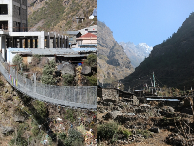 The current suspension bridge connecting Nepal and Tibet (left); a traditional Tamang village, just down road from the new bridge (right)
