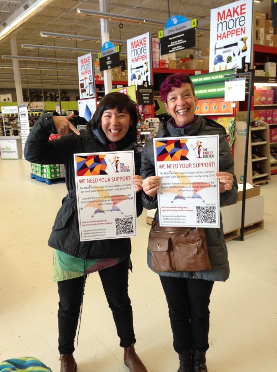 Natalie and I with the freshly-printed posters advertising our crowd-funding campaign