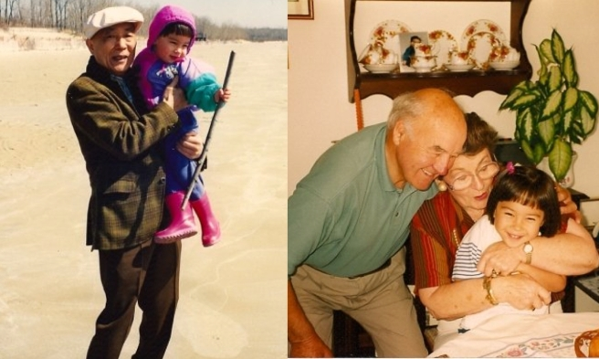 My Gramps and I at Sandbanks Provincial Park in southern Ontario (l), Nana, Pop, and I at their home in Ireland.