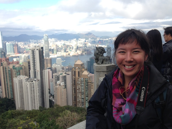At the top of Victoria Peak in Hong Kong.