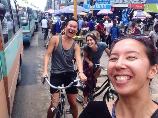 Biking with my coworkers and friends, Logan and Alex, in Kariakoo, Dar's bustling main city market.