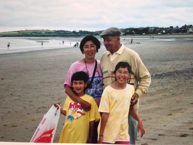 Pop and us, Skerries beach, sometime in the late 90s.