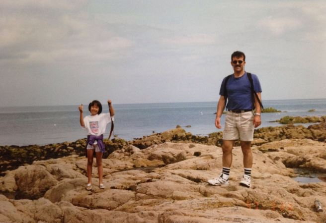 My dad and I collecting shells, in our incredibly fashionable mid-90s gear.