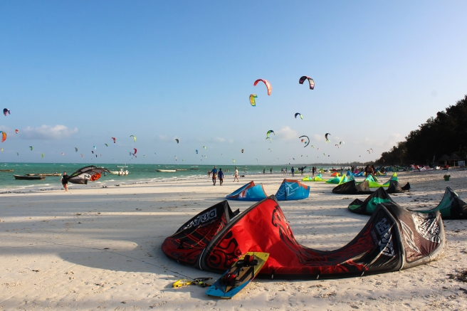 Kite surfing paradise – these looked like mini shelter tents laying on the beach.